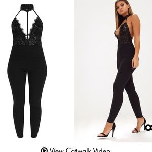 f8d0e1eec40 PrettyLittleThing Pants - Brand New Black Lace Harness Jumpsuit